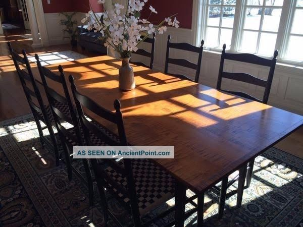 D.  R.  Dimes Dining Room Tiger Maple Farm Table,  Cupboard,  Leaves,  10 Chairs Post-1950 photo