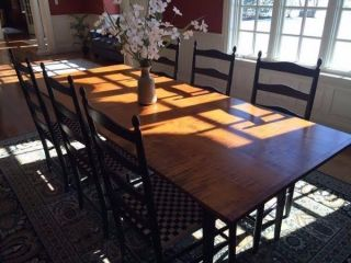 D.  R.  Dimes Dining Room Tiger Maple Farm Table,  Cupboard,  Leaves,  10 Chairs photo