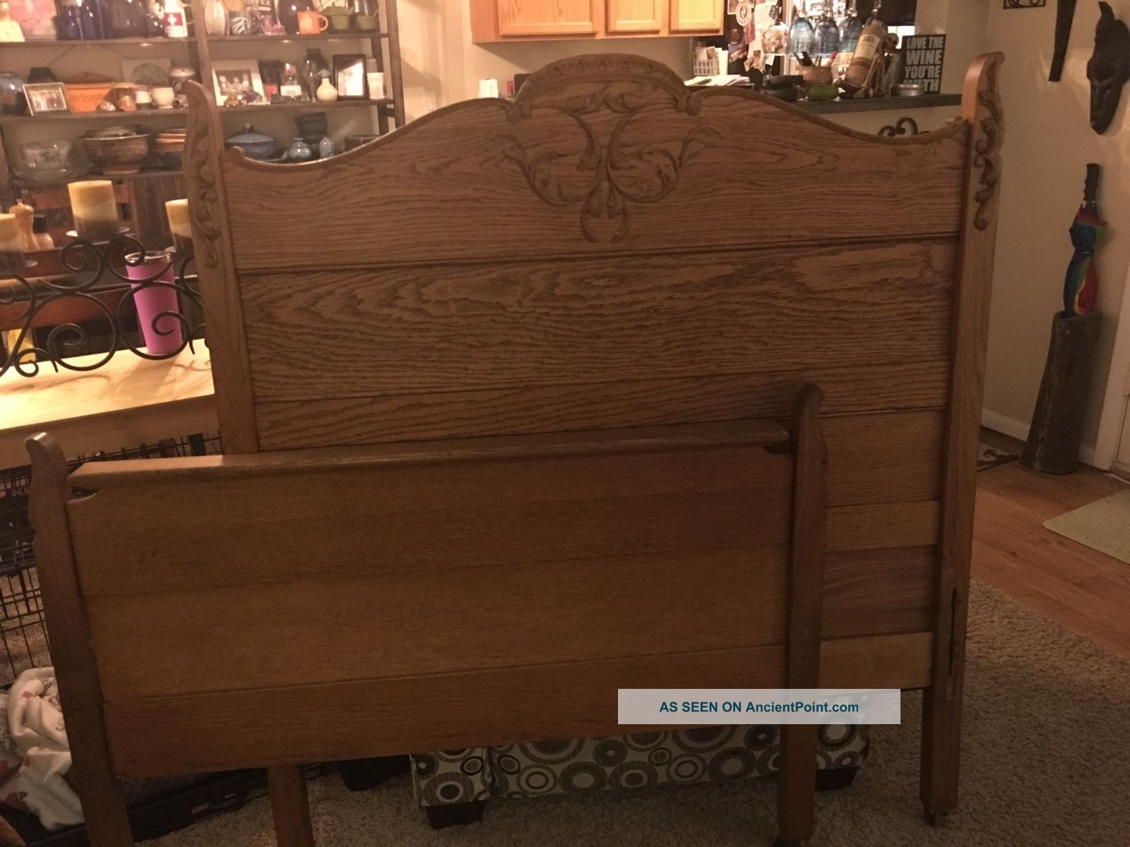 Antique High Back Oak Bed Frame Twin 1900-1950 photo