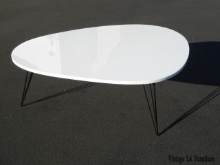 Modern Mid Century Style Kidney Shaped Coffee Table W Metal Hairpin Legs photo