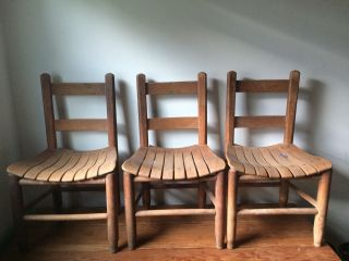 Antique Small Child ' S Kid ' S Solid Wood School Student Chair W/ Slatted Seats photo
