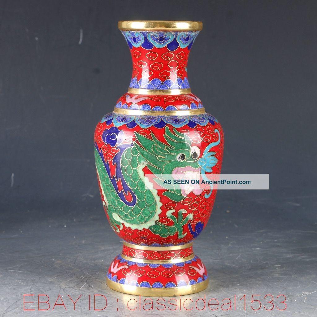 Chinese Cloisonne Filigree Handwork Carved Dragon Vase Pa0911 Vases photo
