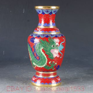Chinese Cloisonne Filigree Handwork Carved Dragon Vase Pa0911 photo