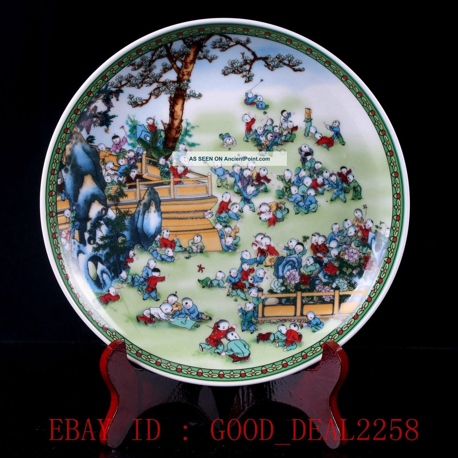 Chinese Porcelain Handmade One Hundred Kid Plate W Qianlong Mark Pz046 Plates photo