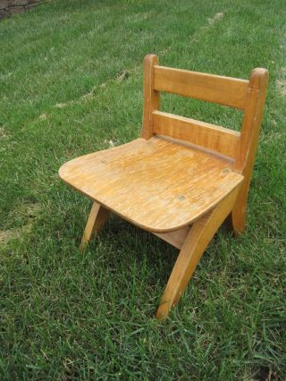 Vintage Wooden Child Chair Stool Shabby Country Primitive Decor, photo