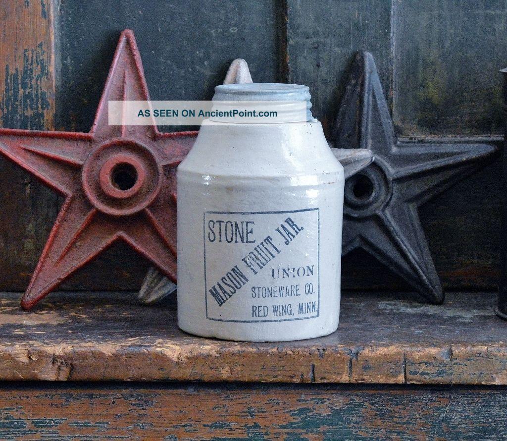 Antique Red Wing Stone Mason Fruit Jar Union Stoneware Primitives photo