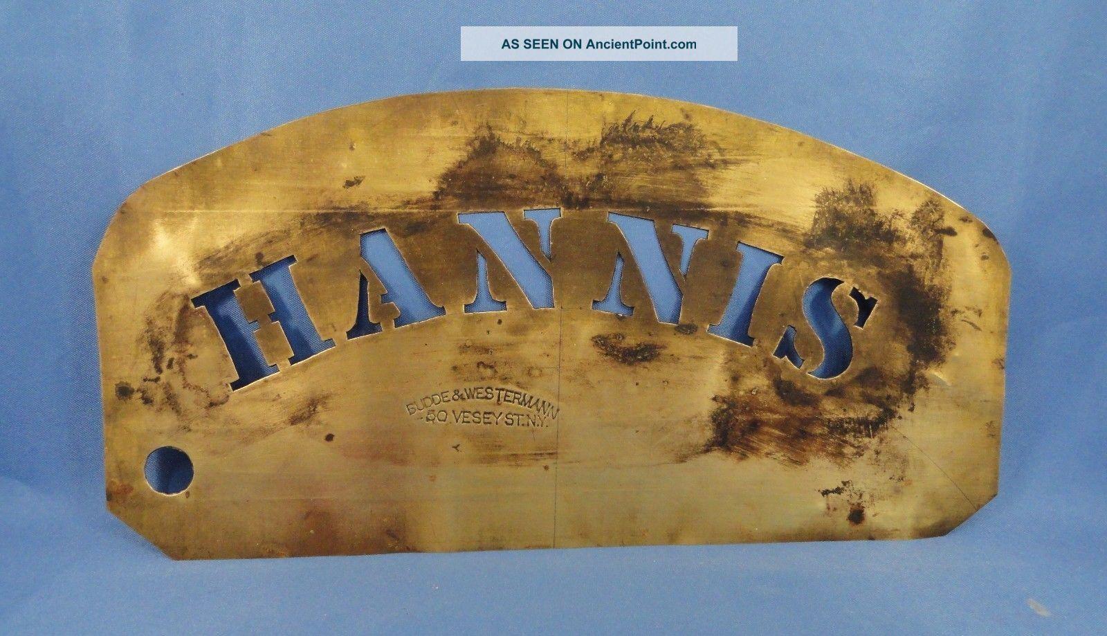 Antique ' Hannis ' Brass Stencil Primitives photo