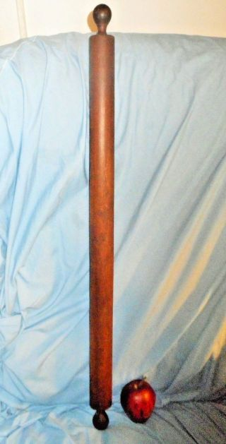 Aafa Huge Antique Maple Wood Rolling Pin 36 X 2 In. photo