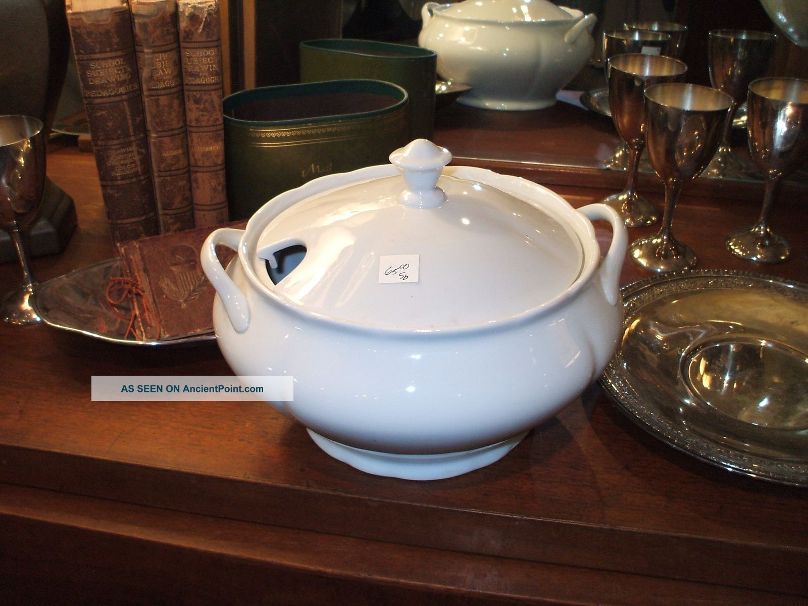 White Ironstone Covered Footed Soup Tureen Vintage Antique Bowls photo