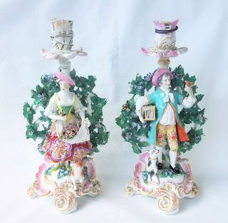 1780 English Chelsea Porcelain Figural Boccage Candlesticks,  Gold Anchor photo
