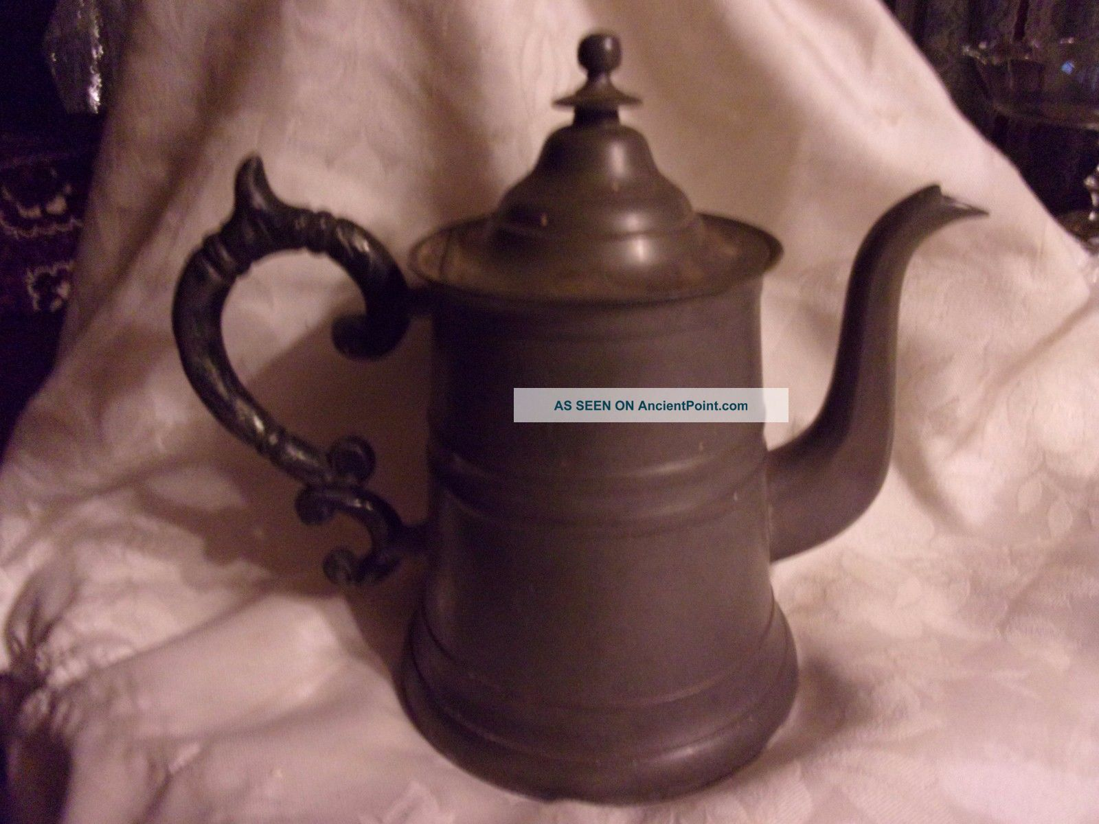 Antique 19th Century Roswell & Gleason Pewter Coffee Pot 8.  5