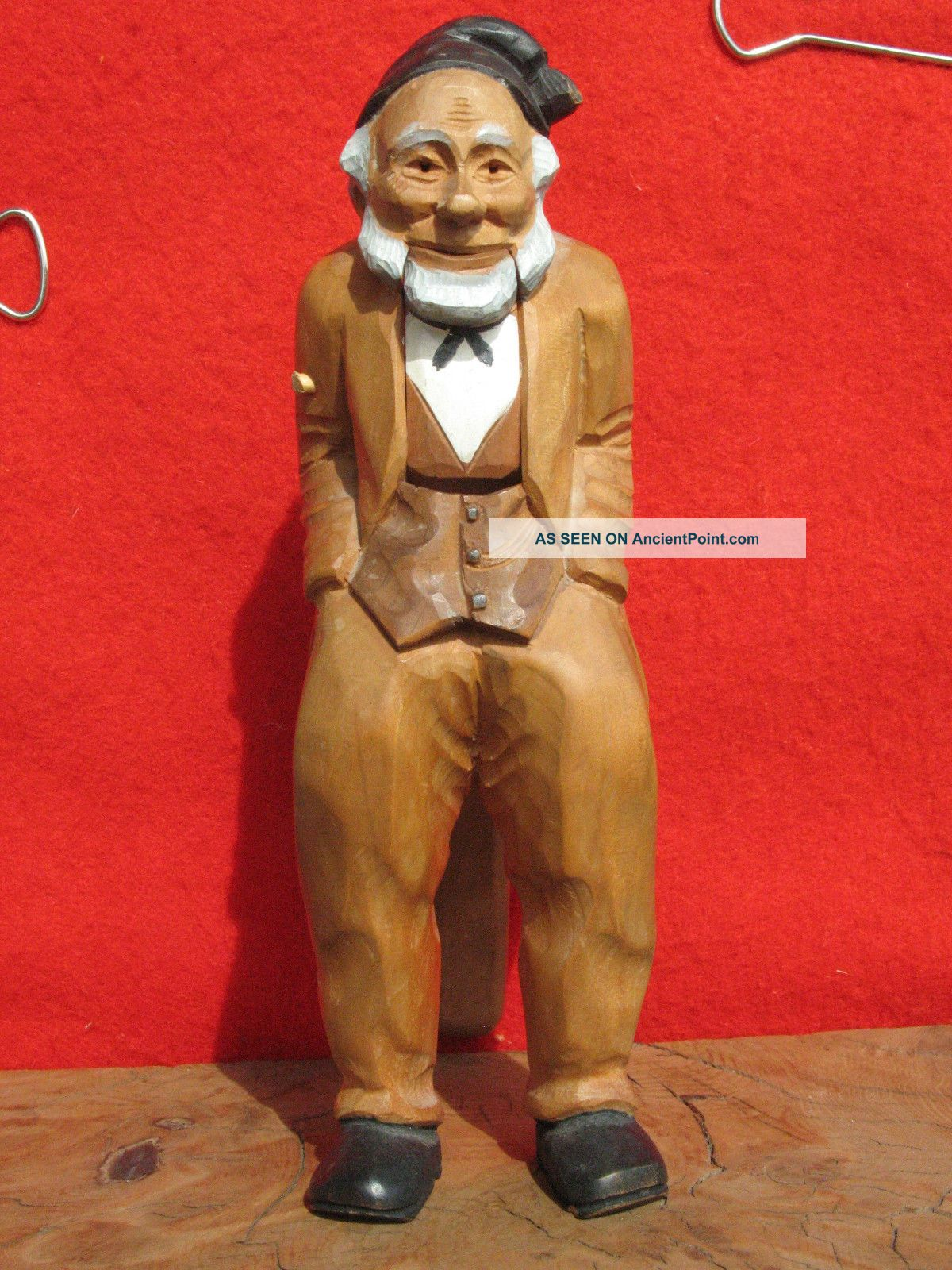 A1401 Vintage Hand Carved Wood Figural Nutcracker Of An Old Man Carved Figures photo