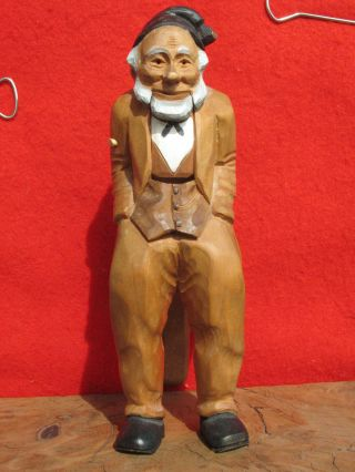 A1401 Vintage Hand Carved Wood Figural Nutcracker Of An Old Man photo