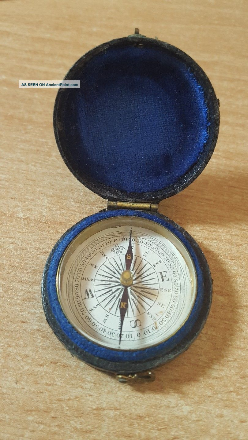 Fine Antique Pocket Compass In Leather Case Other Antique Science Equip photo