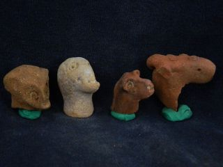 Ancient Teracotta Animal 4 Heads Indus Valley 800 Bc Tr403 photo