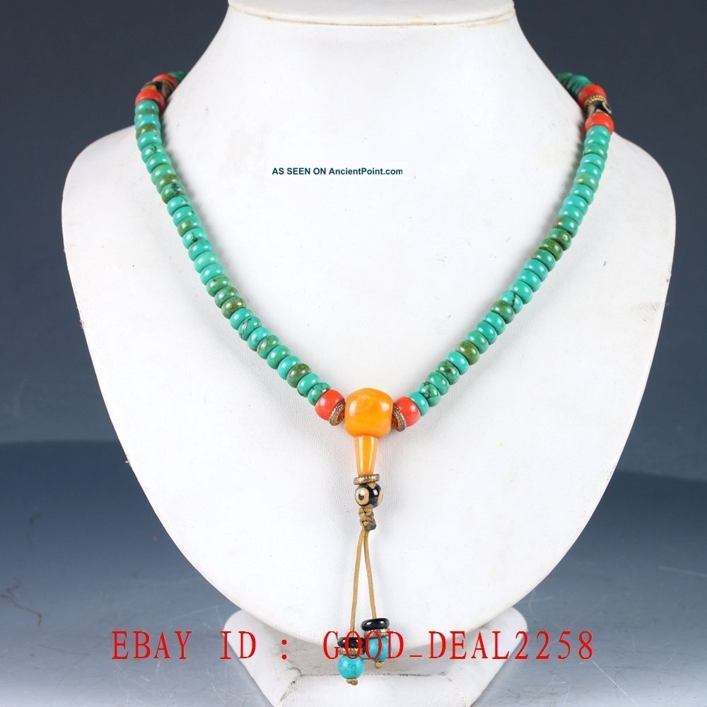 100 Natural Turquoise & Beeswax Handwork Carved Beaded Necklaces Xl083 Necklaces & Pendants photo