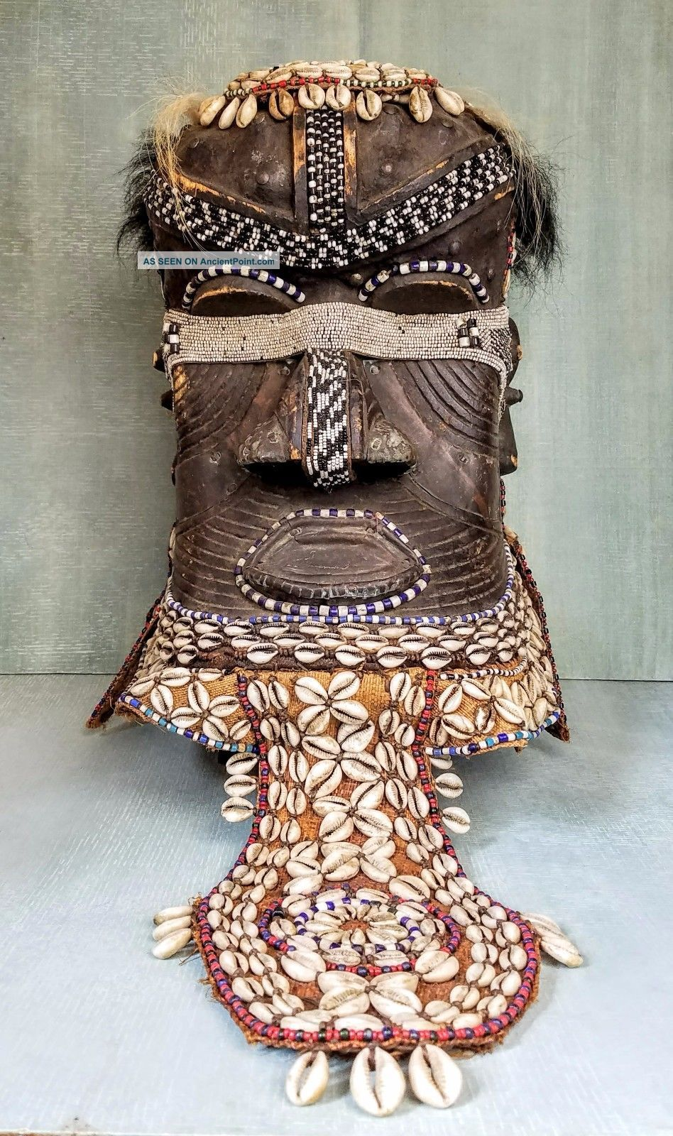 African Kuba Royal Helmet Mask Bwoom Congo Elaborate Fine Masks photo
