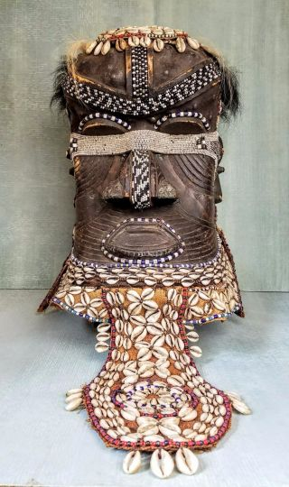 African Kuba Royal Helmet Mask Bwoom Congo Elaborate Fine photo