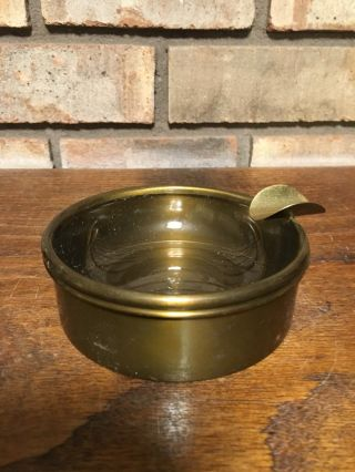 Rare Antique Old Bradley & Hubbard Mfg Brass Blown Glass Cigar Ashtray Tobacco photo