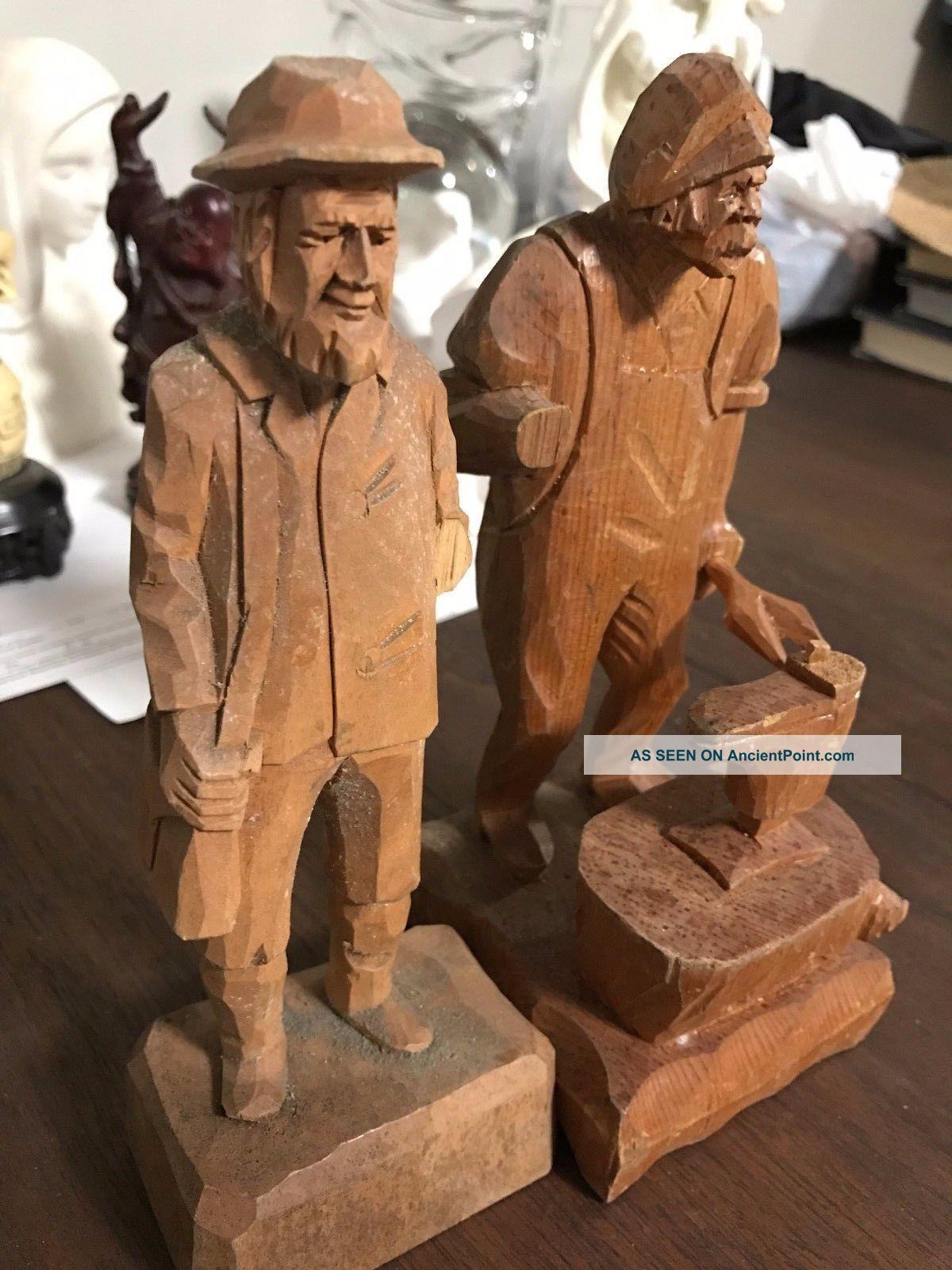 Antique Pair German Hand Carved Wood Old Man Gentleman Figurine German Statue Carved Figures photo