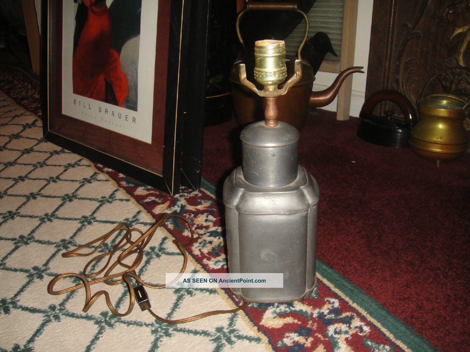 Vintage Hong Kong Industrial Tin Metal Table Lamp - Square Body - Lqqk Lamps photo
