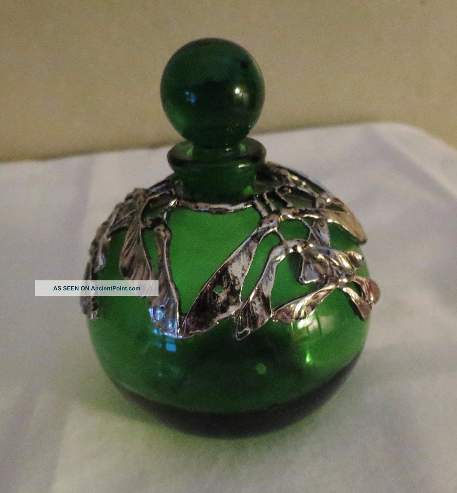 Antique Emerald Green Perfume Bottle Silver Overlay Perfume Bottles photo
