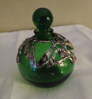 Antique Emerald Green Perfume Bottle Silver Overlay photo
