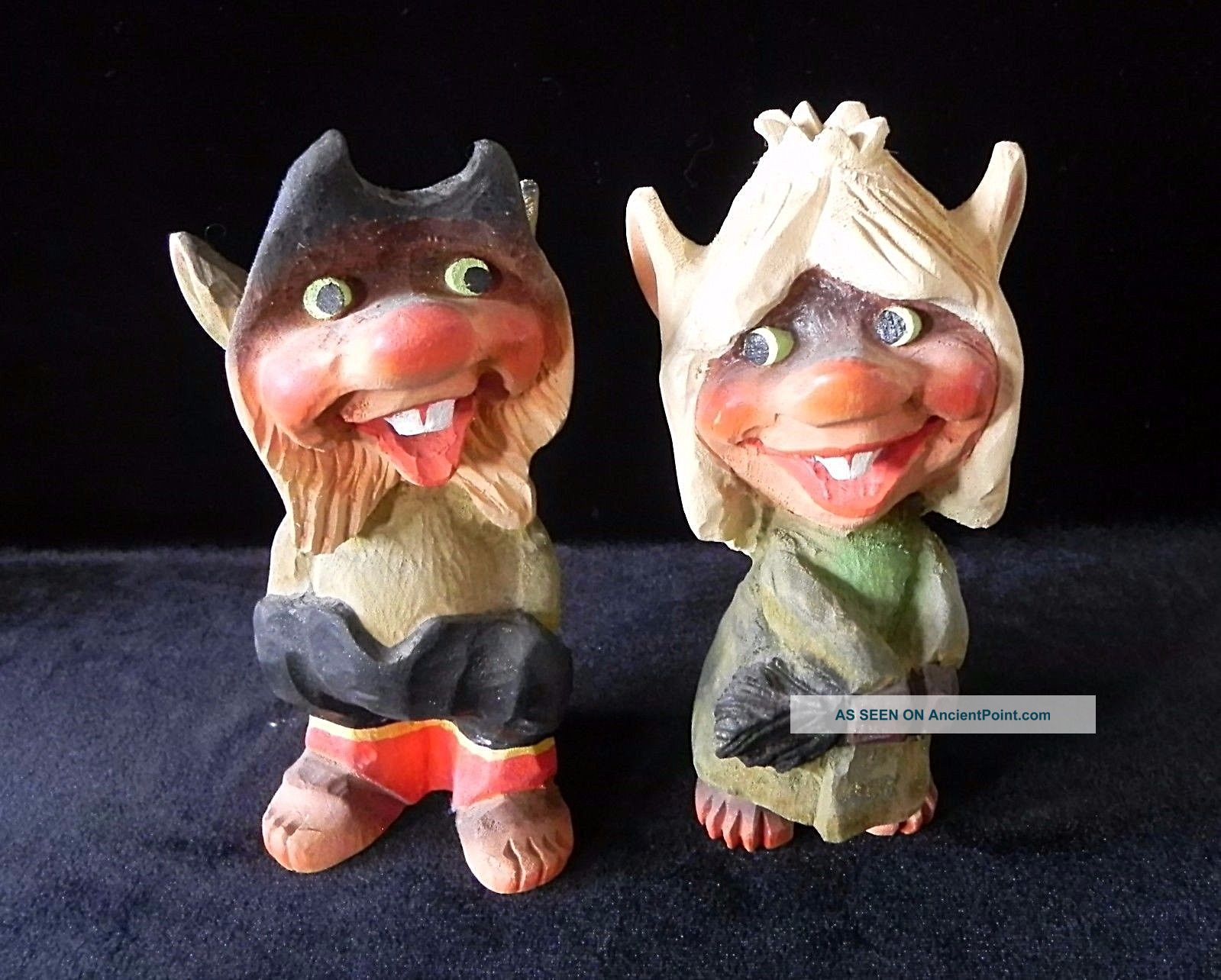 Henning Norway Hand Carved Wood Trolls Vintage Boy & Girl Big Teeth Carved Figures photo