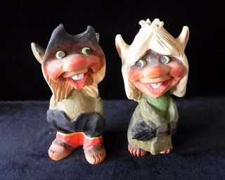 Henning Norway Hand Carved Wood Trolls Vintage Boy & Girl Big Teeth photo
