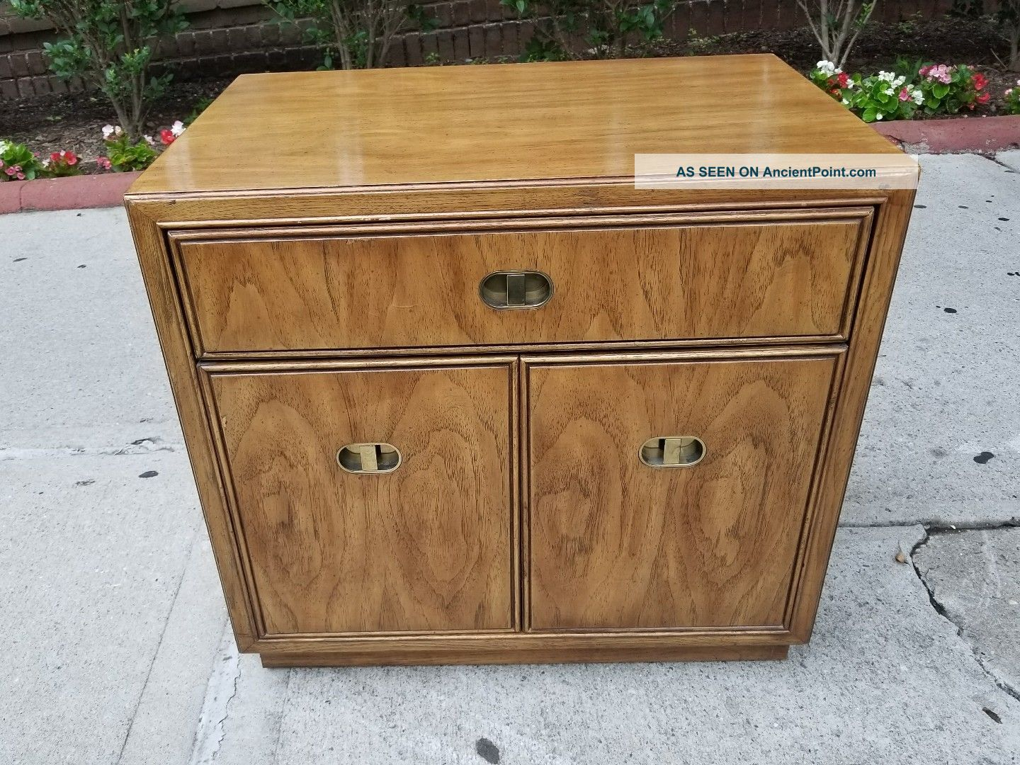 Vtg Drexel Heritage Passage Mid Century Campaign Modern Nightstand/end Table Mid-Century Modernism photo
