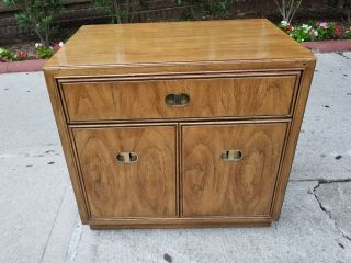 Vtg Drexel Heritage Passage Mid Century Campaign Modern Nightstand/end Table photo