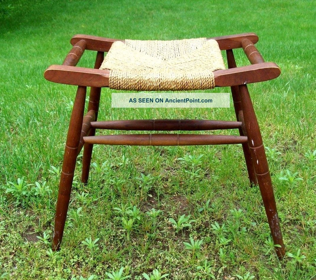 Vintage Woven Rush Caned Seat Bench Stool Post-1950 photo