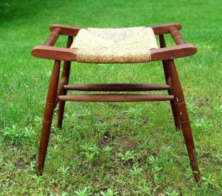 Vintage Woven Rush Caned Seat Bench Stool photo