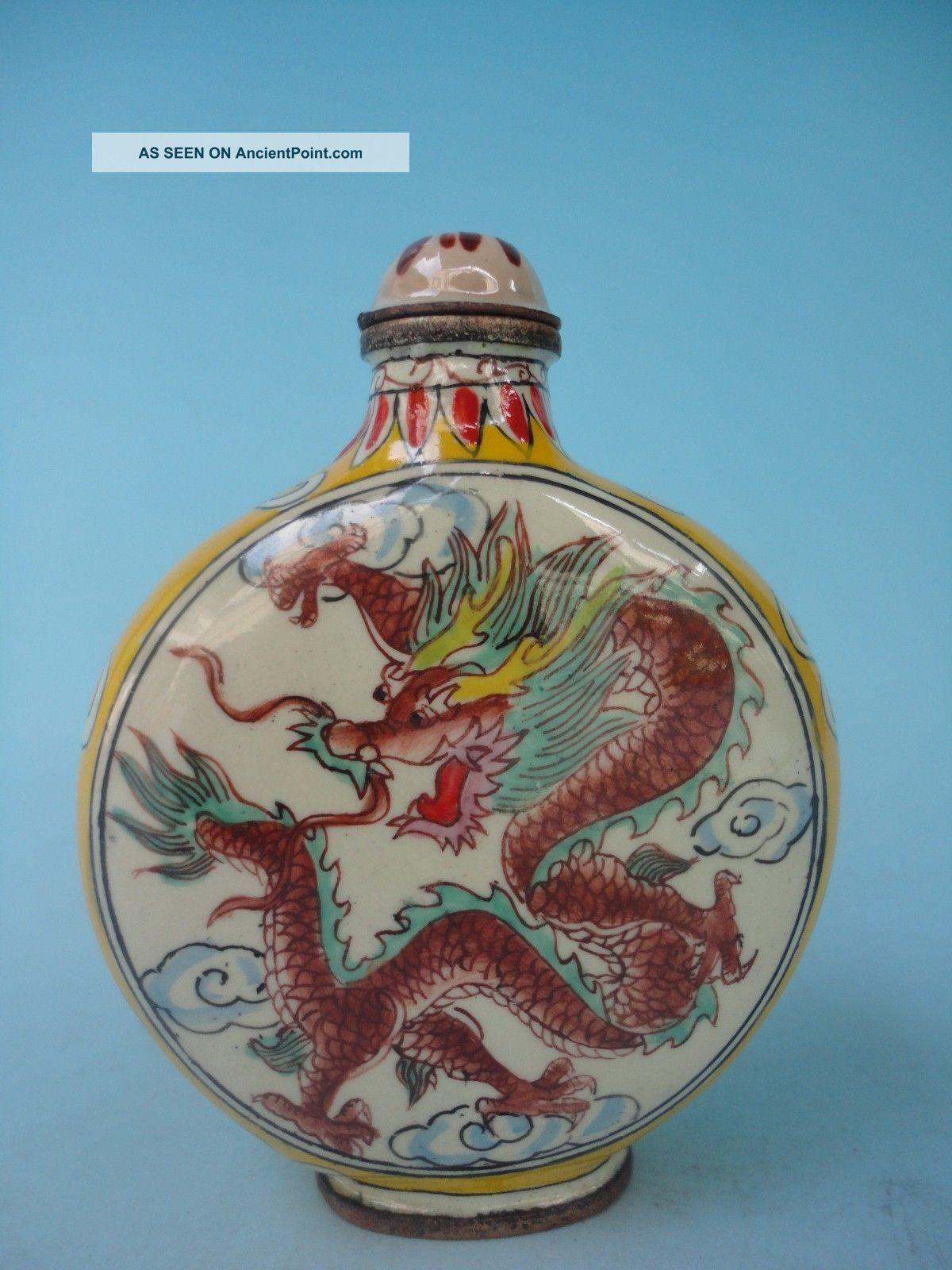 Collect Copper Cloisonne Painting Flowers Mighty Dragon Snuff Bottle Decoration Snuff Bottles photo