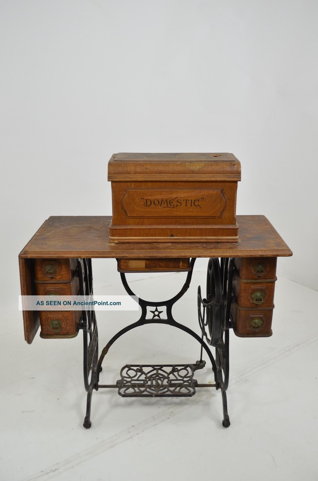 Antique Domestic Sewing Machine Cabinet Table Early 1900s Sewing Machines photo