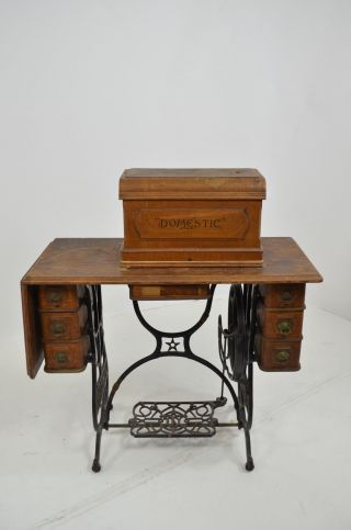 Antique Domestic Sewing Machine Cabinet Table Early 1900s photo