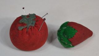 Sewing Emery Apple,  Tomato & Strawberry Hand Made Small 2 In.  Antique photo