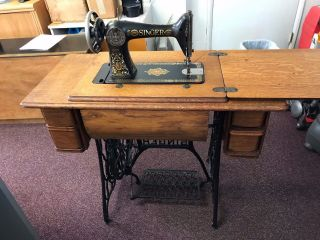 Antique 1915 Singer Treadle Sewing Machine Cast Iron Base & 7 Drawer Oak Cabinet photo