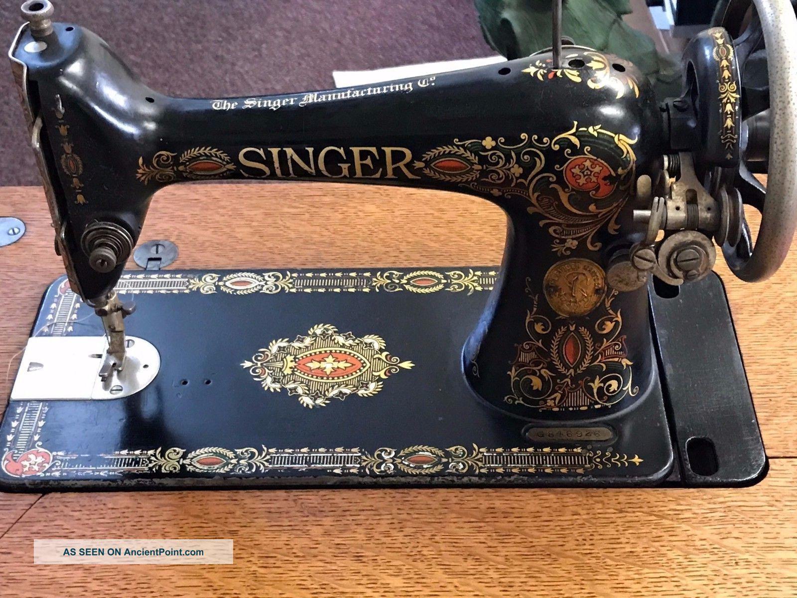 antique 1915 singer treadle sewing machine cast iron base 7 drawer oak cabinet. Black Bedroom Furniture Sets. Home Design Ideas