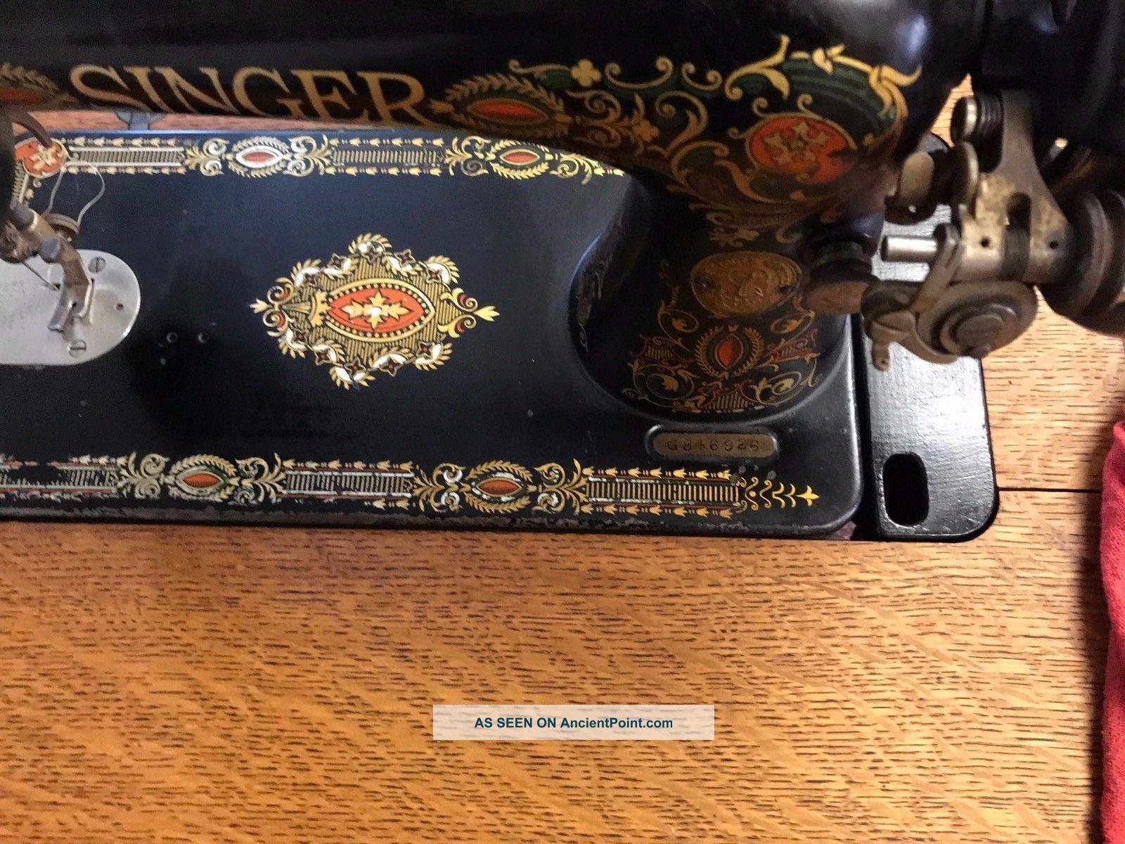 Antique 1915 Singer Treadle Sewing Machine Cast Iron Base Amp 7 Drawer Oak Cabinet
