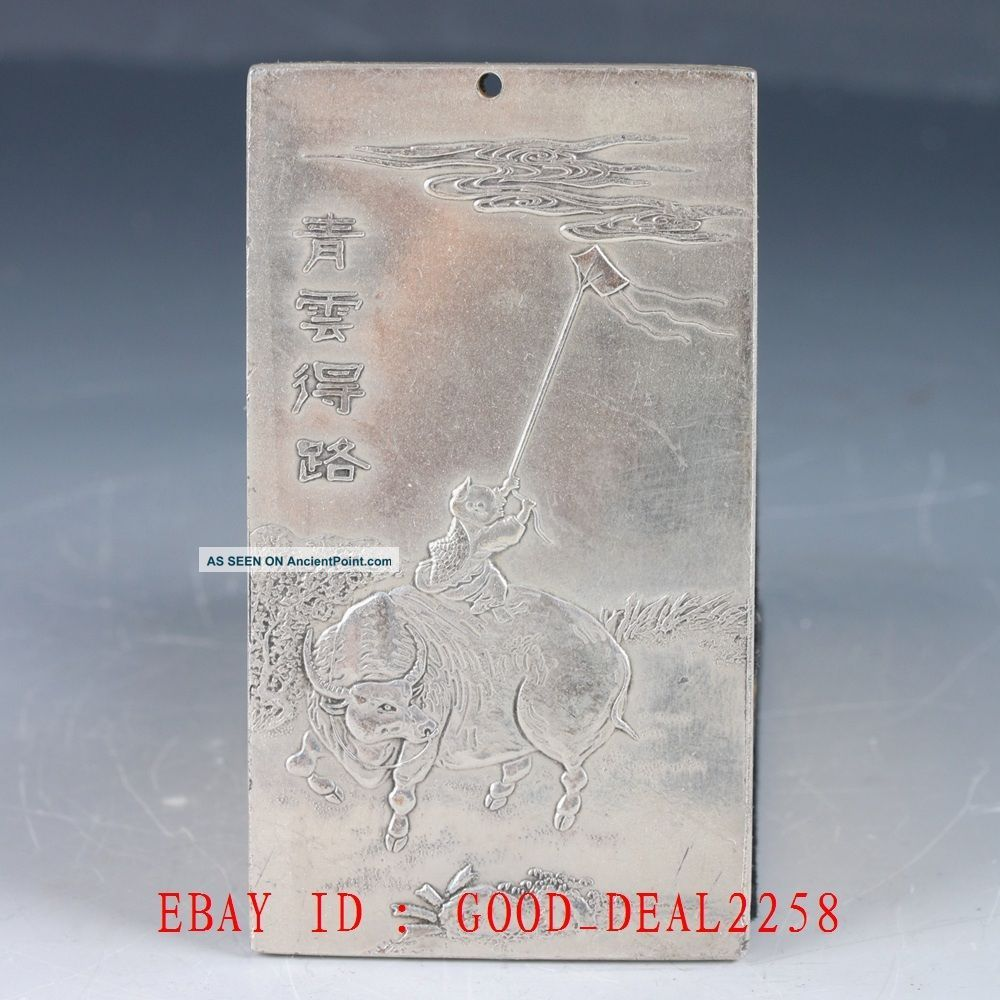 Chinese Tibet Silver Hand Carved Cattle & Children & Kites Pendant Yp03 Necklaces & Pendants photo
