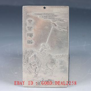 Chinese Tibet Silver Hand Carved Cattle & Children & Kites Pendant Yp03 photo