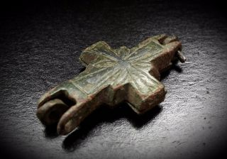 Rare Byzantine Reliquary Cross Pendant With Niello Inlaid Cross 10th - 12th C A.  D. photo