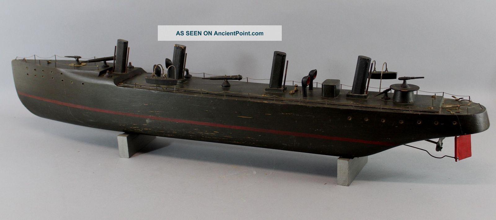 Antique Maritime Folk Art Wwi Gunship Wood Motorized Pond Model Nr Model Ships photo