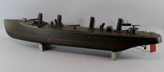 Antique Maritime Folk Art Wwi Gunship Wood Motorized Pond Model Nr photo