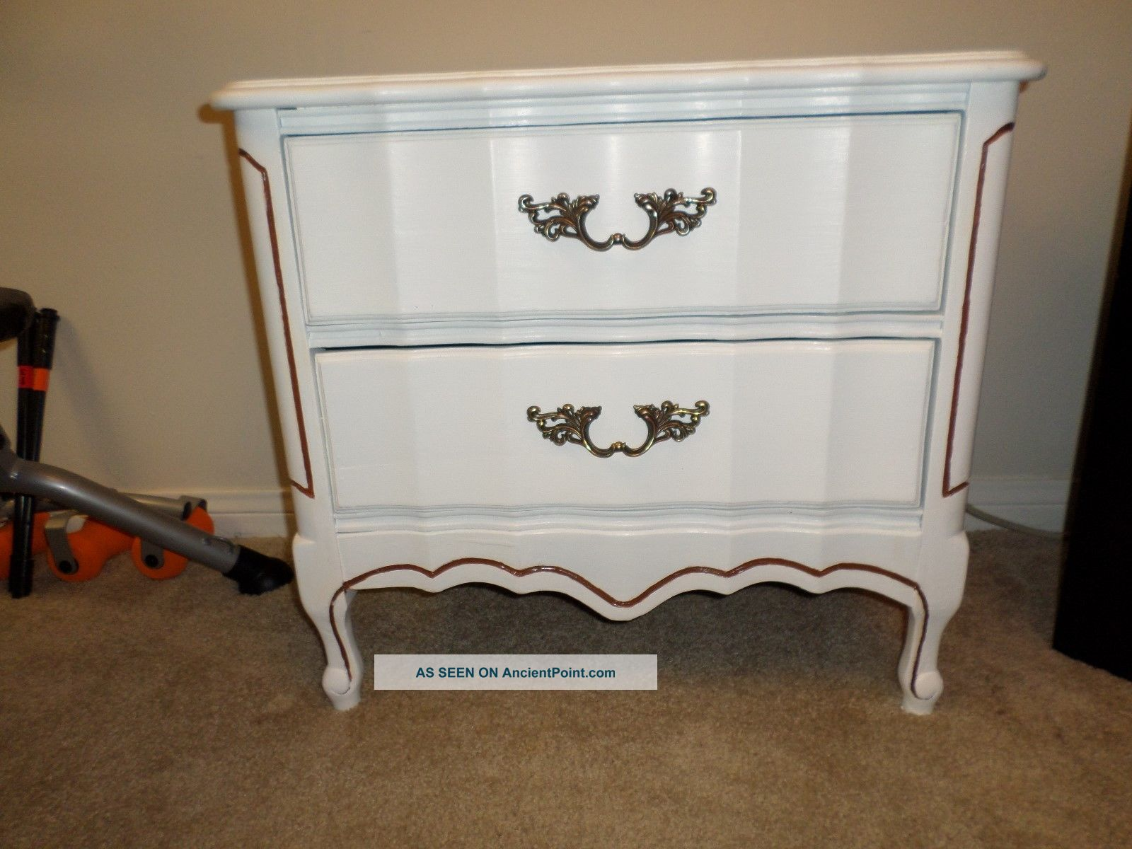Solid Wood French Provincial Hand - Painted White 2 - Drawer Dresser / Nightstand Post-1950 photo