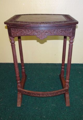 Antique Wooden Hand Carved Pedestal Plant Stand Side Table 23