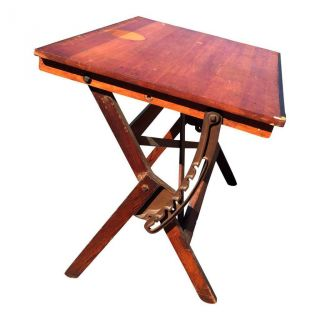 Vintage Drafting Table Drawing Industrial Antique Tilt Wood Architect Cast Iron photo