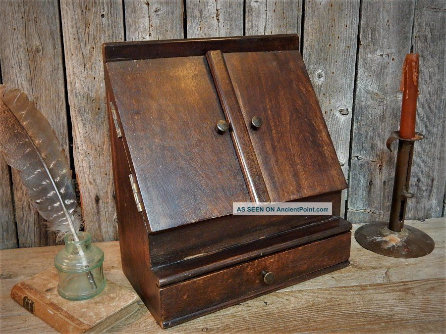 Antique Wood Desk Top Cabinet Box Letter Bill Organizer 1900-1950 photo