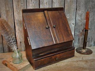 Antique Wood Desk Top Cabinet Box Letter Bill Organizer photo